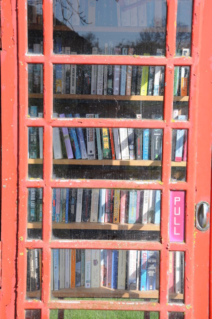Telephone box used as a library