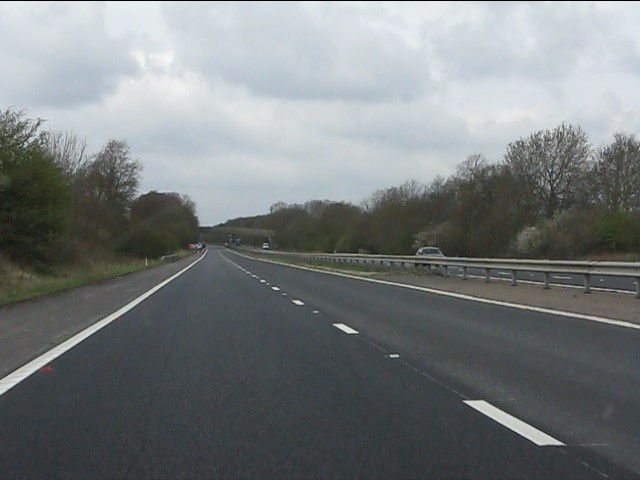 M45 motorway southwest of Kilsby