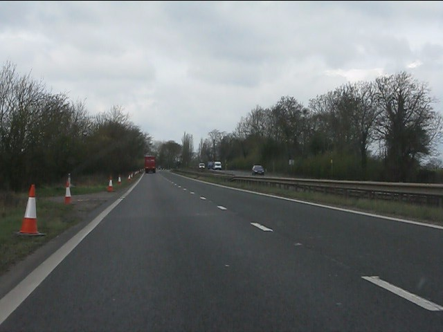 A45 at the track to Limekiln Farm