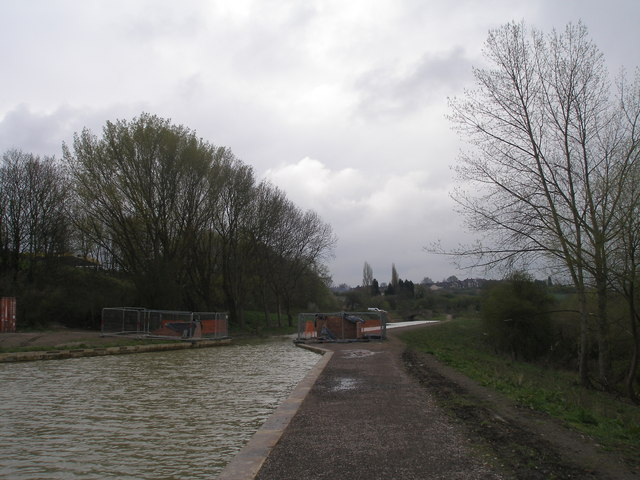 Footbridge works on the new section of canal