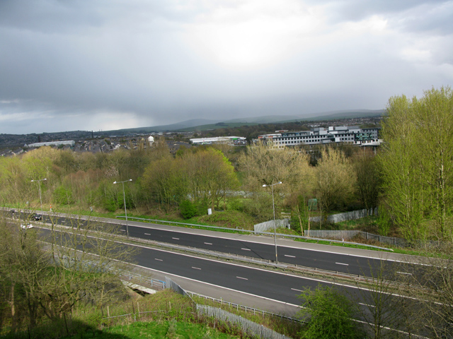 View west across the M65 from the Holiday Inn