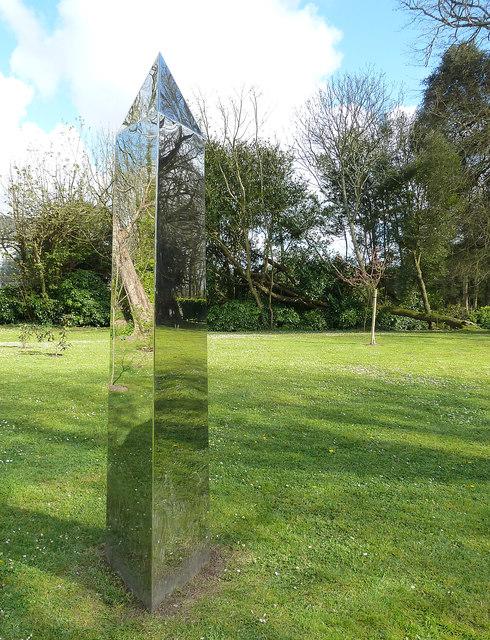Shiny obelisk, Prideaux Place garden