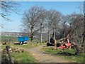 SK2883 : Farm machinery and fallen tree at Mayfield Alpacas by Penny Mayes