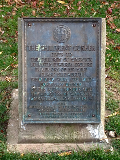 Plaque in the Children's Corner, St Nicholas Park