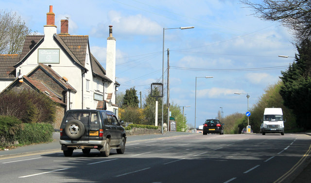 2012 : A432 Badminton Road passing The Swan at Nibley
