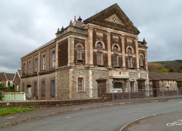 Side view of Grade II listed former Dyffryn chapel, Port Talbot