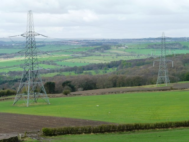 Pylons crossing farmland