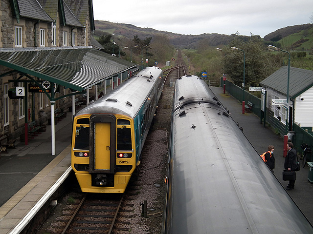 Two trains at Machynlleth