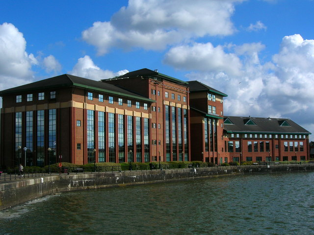 Modern office block at the east end of the old Preston Docks
