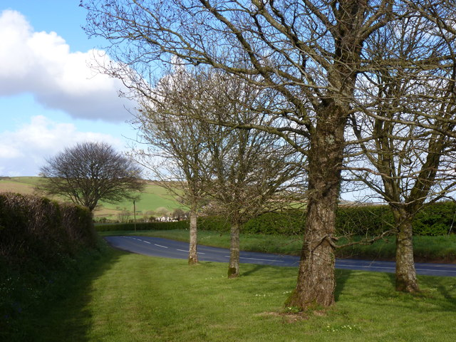 Road towards Cornwood, near the entrance to The Oaks, near Lee Mill