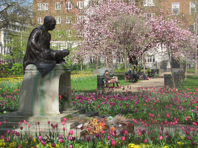 Gandhi contemplates Spring in Tavistock Square