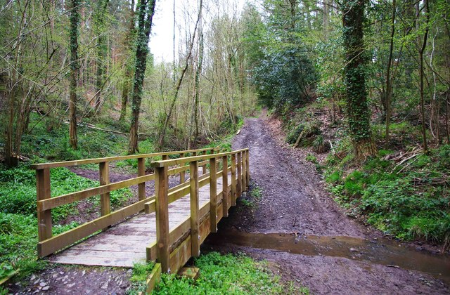 New footbridge and old ford over stream in Eymore Wood, near Trimpley