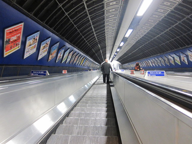 Escalator at London Bridge underground station