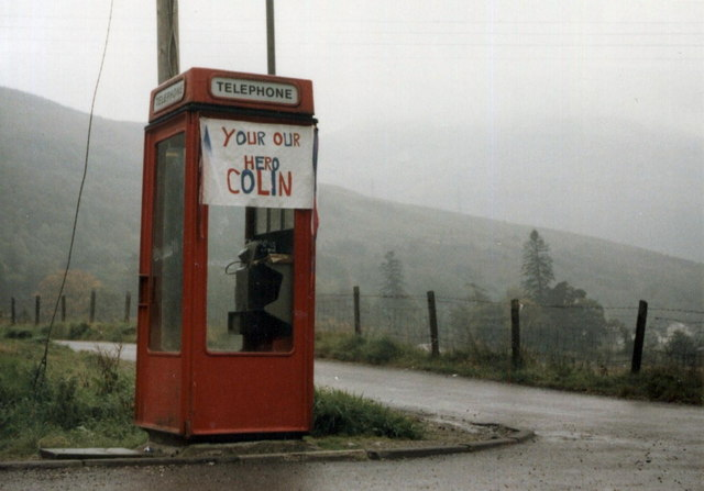 The phone box at Succoth looking lonely amid the misty hills