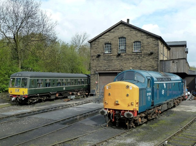 Two Diesels at Haworth Sheds