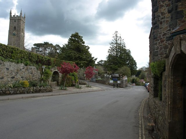 East Street, Bovey Tracey, at the entrance to the church