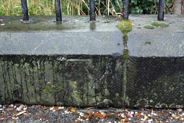 Benchmark on wall near east end of Gregory Boulevard