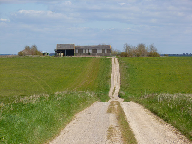 Track, downland and farm buildings, Enford
