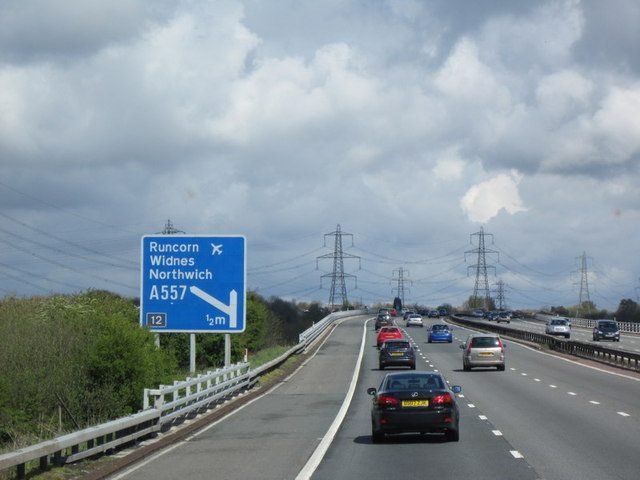 The M56 goes over the River Weaver