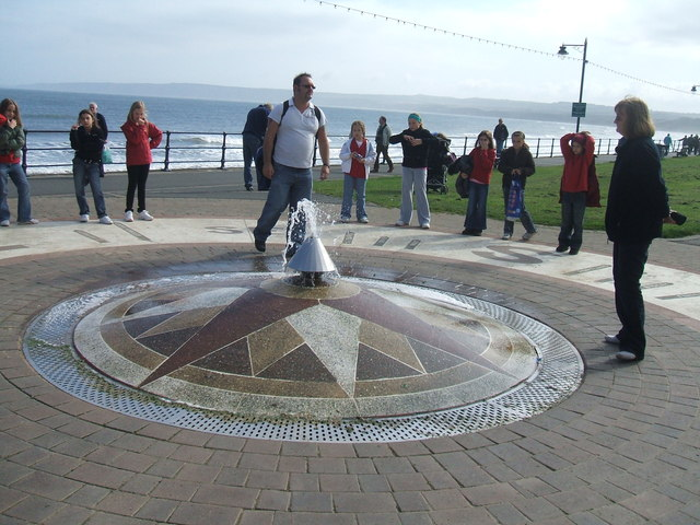 Mosaic compass and fountain