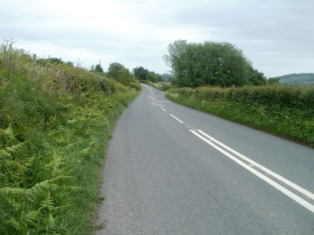 End of the double white lines on the road to Usk