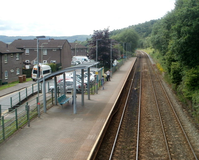 Llanbradach railway station platform 2 viewed from the footbridge