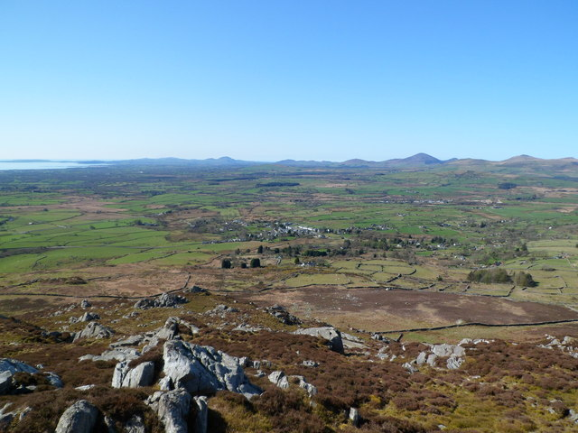 Looking towards Garndolbenmaen from the summit of Graig-y-garn