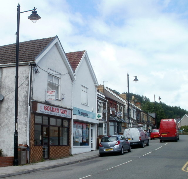 A takeaway and a pharmacy, Llanbradach High Street