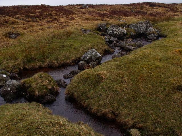 Confluence on Allt an Ime on Rannoch Moor