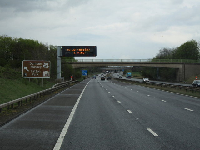 The M56 at Coe Lane farm bridge