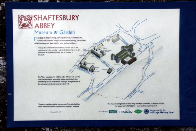 Information Board, Shaftesbury Abbey, Dorset