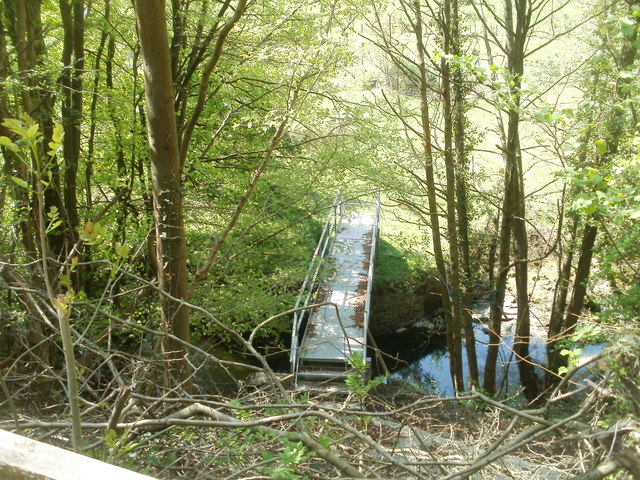 Roadside view of a river footbridge north of Cwmavon