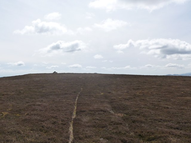 Path and cairn on the summit of Auchnafree Hill