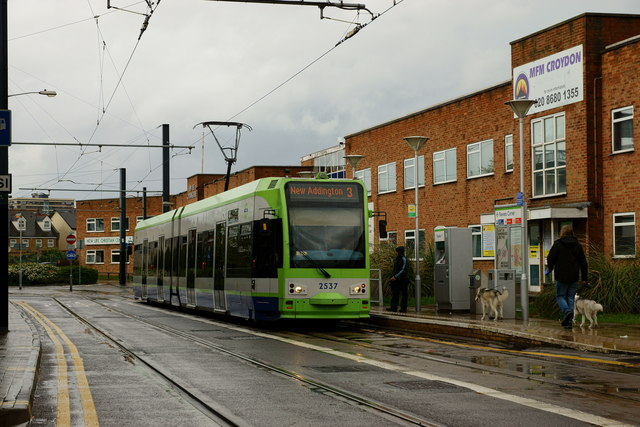 Tram at Reeves Corner, Croydon