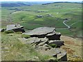 SJ9973 : Shining Tor rocks and view to Long Clough Valley by Neil Theasby