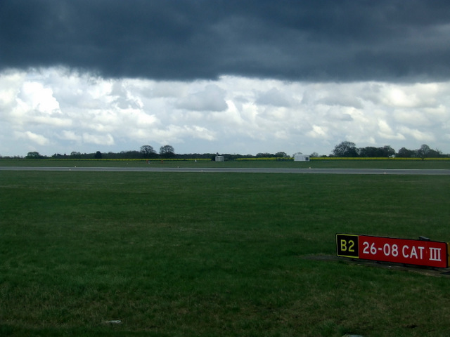 Dark sky over Luton Airport
