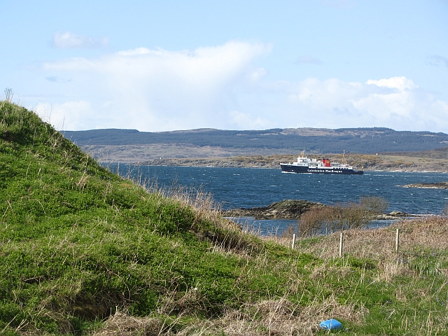 MV Isle of Arran passes the dun at Ronachan