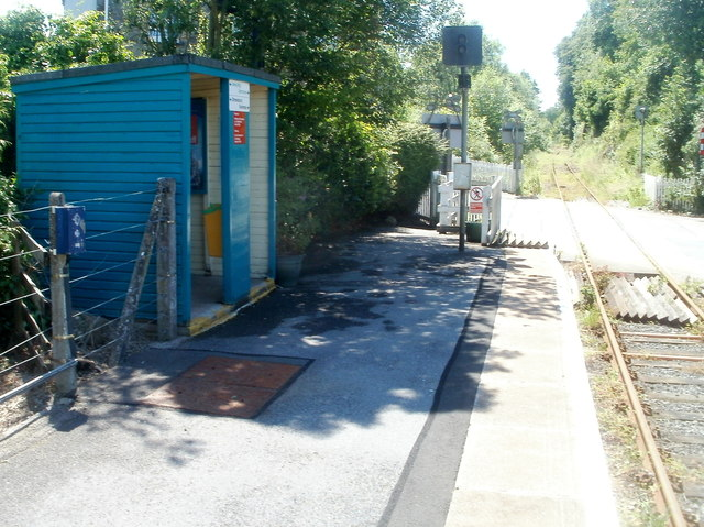 Tiny shelter at Ffairfach railway station