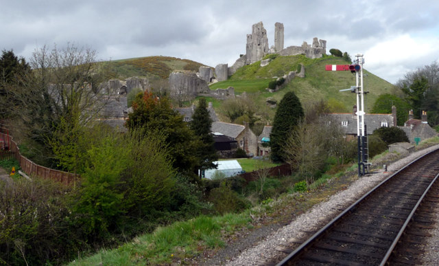 Signal and Railway Track at Corfe Station, Swanage Railway