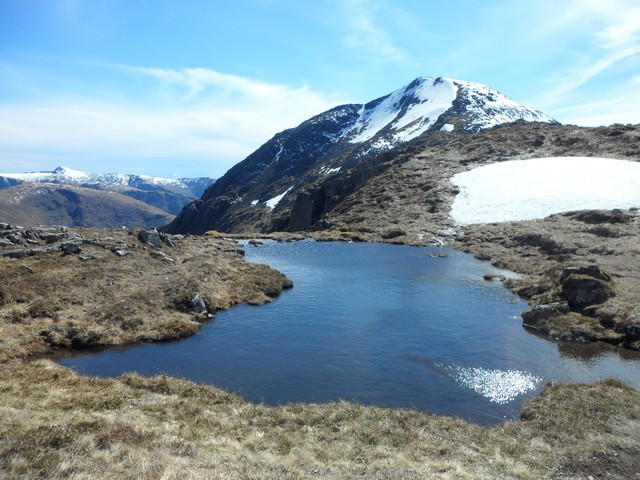Small pool of water on Buachaille Etive Mor ridge
