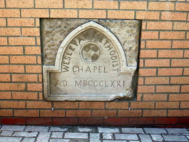 Wesleyan Chapel wall plaque, Square behind Library, Front Street