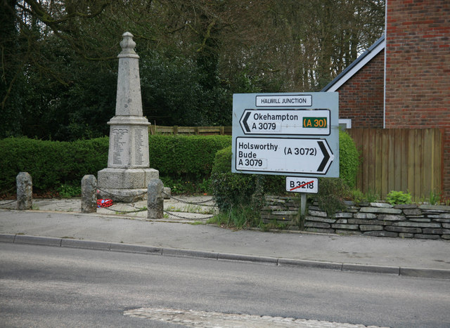 Signs and War Memorial at Halwill Junction