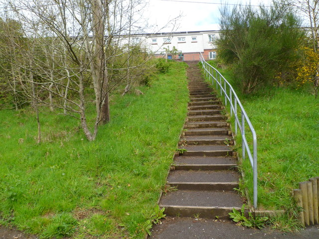 Steps up to Edward Terrace, Abertridwr