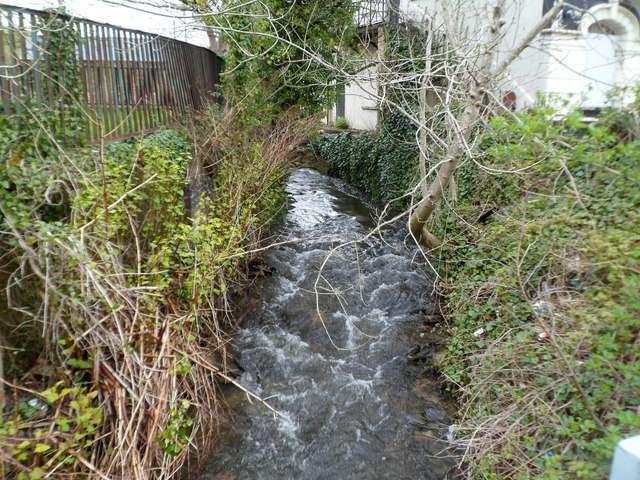 A stream flows towards The Square, Abertridwr