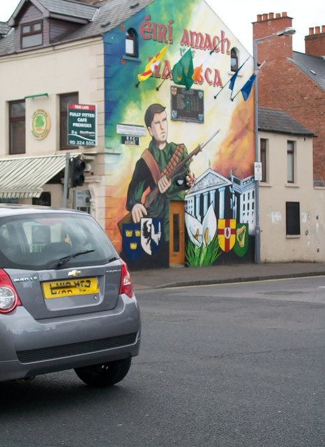 Easter Rising mural on the corner of Beachmount Avenue and the Falls Road