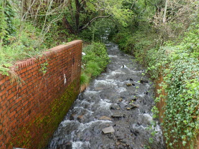 Stream flows towards Heol Aneurin, Penyrheol, Caerphilly