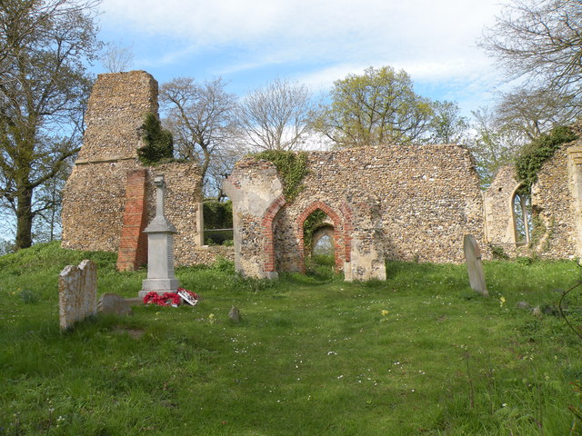 The ruined parish church of Tivetshall St. Mary