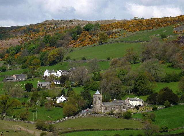 Crosthwaite Church and the houses of Cartmell Fold
