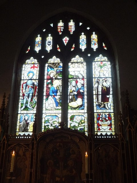 The east window of Dean Prior church