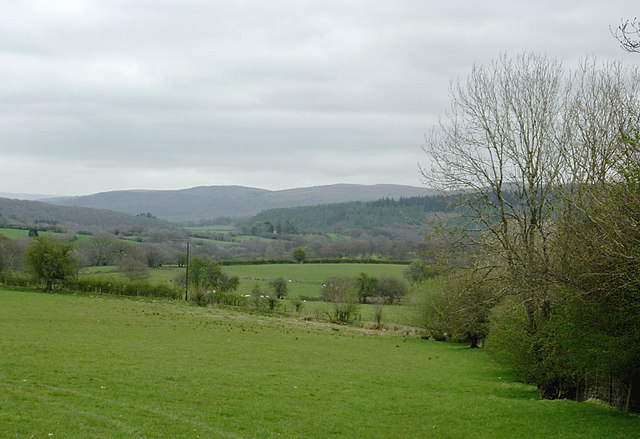 Farmland in the Deuffwrd valley near Beulah, Powys